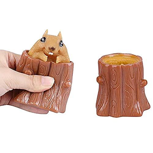 Squeeze Squirrel Cup Stress Reliever Tocones de árbol Soporte para bolígrafo Sensorial Fidget Juguetes Descompresión Mal