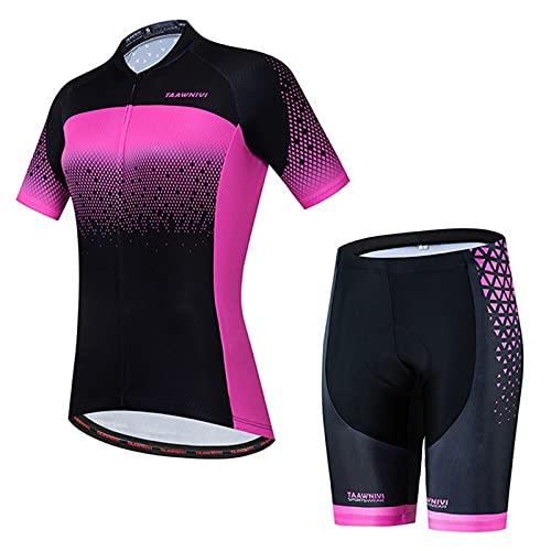 NAXIAOTIAO Ciclismo Jersey, Mujer Mountain Bike Jersey Camisetas Manga Corta Verano, Leggings Pantalones Cortos De Ciclismo,M