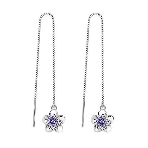 Pendientes con borlas de flor de cerezo Pendientes de flor de loto blanco y morado para mujer