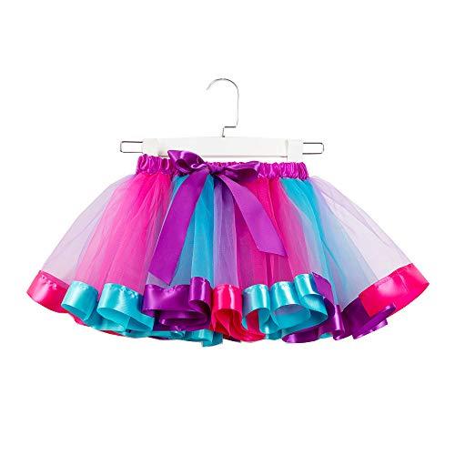 WOZOW Damen Tüllrock Tunika Einfarbig Multi-Schichten Midi Unterrock Frauen Karneval Halloween Kostüm Party Petticoat Prinzessin Kleider (L =EU:40-52,Himmelblau)