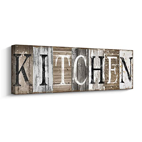 Rustic Farmhouse Kitchen Wall Decor Canvas Prints Kitchen Signs Wall Decor (With Solid Wood Inner Frame) (Kitchen, 6 x 17 inch)