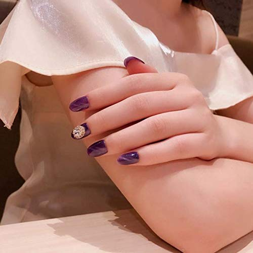 Chenche Autocollants à Ongles pour Filles 24 pièces Full-Fashion Full Cover Fake Nails Ins Style Wearable Purple Fake Nails Glittering Cat Eyes with S