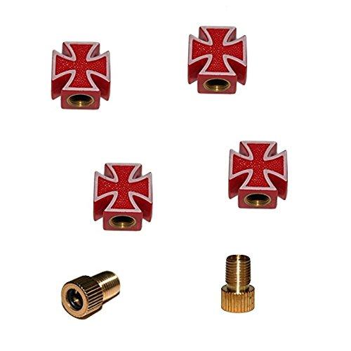 KUSTOM66 6er Ventilkappenset Iron Cross - Eisernes Kreuz (4X Ventilkappe + 2X Adapter) für jedes Fahrrad, Auto und Motorrad geeignet (Rot)