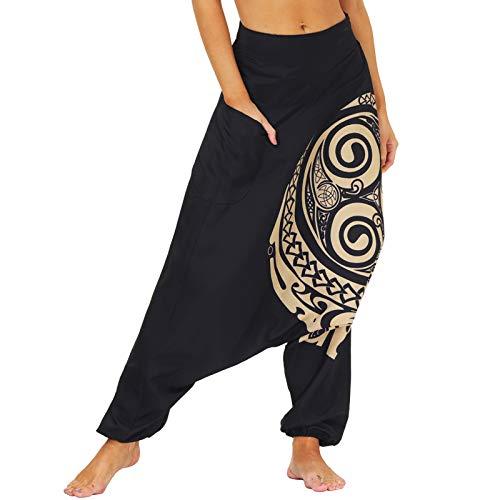 Nuofengkudu Pareja Mujer Hombre Pantalones Cintura Alta Bombachos Anchos Hip Hop Drop Crotch Hippies Flojos Pantalón Muay Thai Deportivo Yoga Pants Fiesta(004-Negro,S)