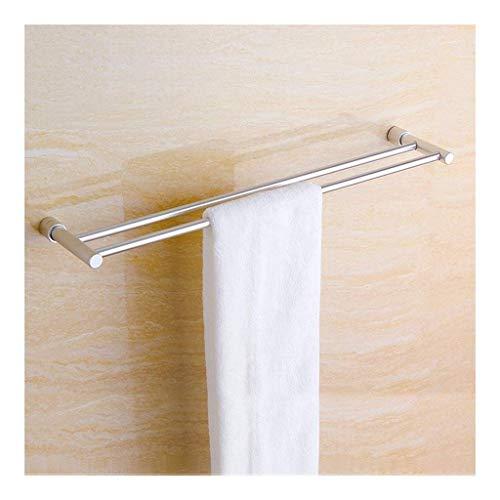 Toallero Toallero 30 ~ 60 cm Toallero montado en la pared Espacio impermeable Estantes para toallas de aluminio con barra doble para toallas Albornoz Toallas de té en el baño Cocina D-8 (Tamaño: 500