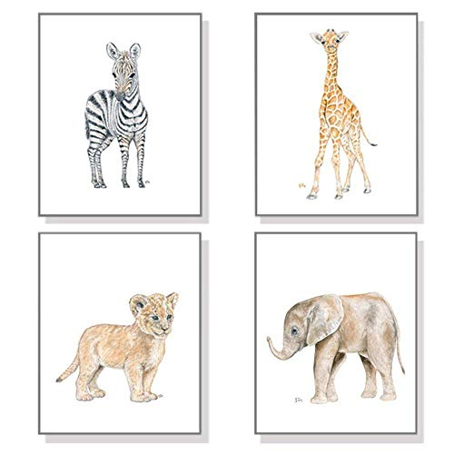 Safari Nursery Prints Set of 4 Unframed, Original Baby Animal Watercolor Art Signed By Artist, Pick Your Animals, Size and Orientation