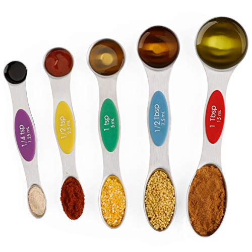 Magnetic Measuring Spoons Stainless Steel Teaspoon and Tablespoon Measurement Spoon Set of 5 For Dry and Liquid Ingredients