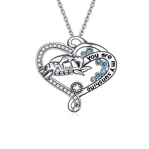 Colgante de plata de ley con diseño de tortugas marinas para mujeres, collares de tortuga y regalos para mamá e hija