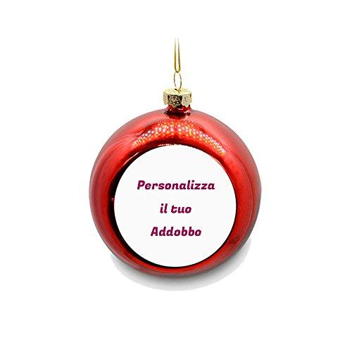 Palla di Natale Color Rosso Personalizzata con Foto Testi e Immagini Appendino Adobbo per Albero Natalizio