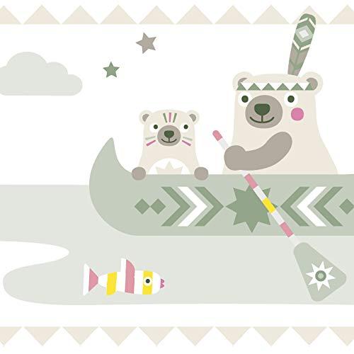 Anna Wand Bordüre selbstklebend Little Indians BEIGE/Olive/PINK - Wandbordüre Kinderzimmer/Babyzimmer mit Indianermotiven & Tieren - Wandtattoo...