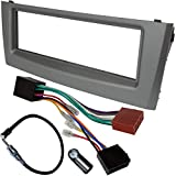 AERZETIX - Kit de Montaje de Radio de Coche estándar - 1 DIN - Marco, Cable Enchufe y adaptadores de Antena - Gris - C4577A