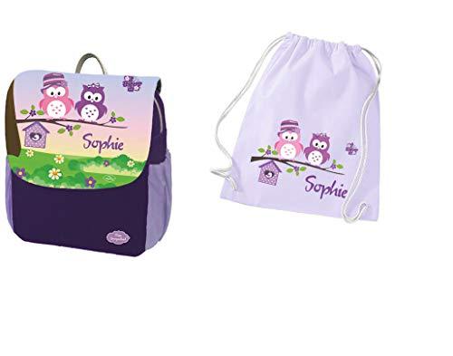 Mein Zwergenland Set 2 Kindergartenrucksack und Turnbeutel Baumwolle Happy Knirps NEXT Print mit Name Eulen, 6L, Lila