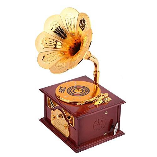 Retro Handkurbel Spieluhr Phonograph Form Trompete Horn Schmuckschatulle(Braun)