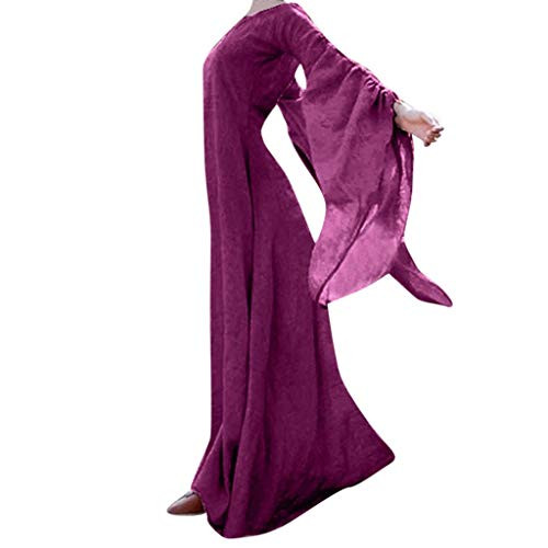 VEKDONE Women Halloween Dress Plus Size Gothic Victorian Poplin Long Sleeve Cosplay Lolita Witch Dress - purple - XXX-Large