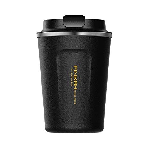 BOBOTEL 13 oz Coffee to Go Cup/Tumbler/Travel Mug,Double Wall Stainless Steel Insulated Vacuum Cup with lids for Travel & to Go Hot/Cold Drinkware Reusable,Black