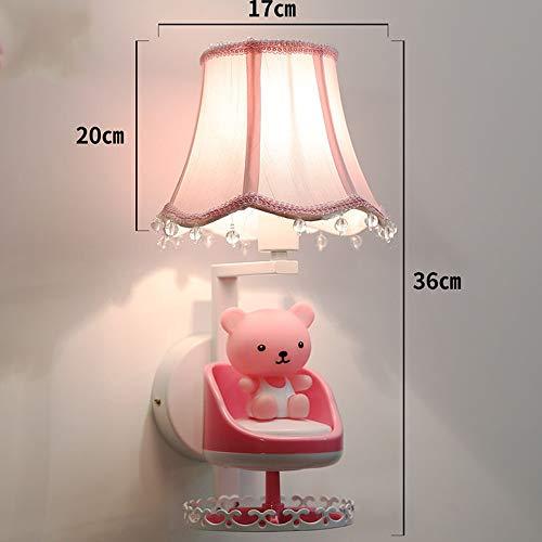 HJKH Wandleuchte Lampe Kinderwandleuchte Cute Bear Wandleuchte Nachttischlampe Kreative Moderne Geeignet for Wohnzimmer Schlafzimmer (Farbe : Rosa, Größe : 36x17cm)