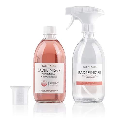 Twentyless Badreiniger Starter-Set | Natürliches und ergiebiges Reinigungsmittel als Reinigungskonzentrat | 1 Glasflasche (500ml) ersetzt 20 Plastikflaschen