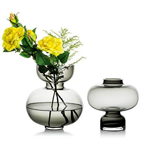 Jarrón de cristal para flores, 2 unidades, color gris, moderno jarrón de cuello estrecho para decoración de mesa, mesa de boda para...