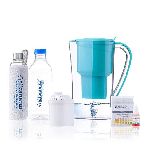 Alkanatur Jarra alcalinizar, depurar e ionizar Agua con Botella de Cristal Boro-silicato....