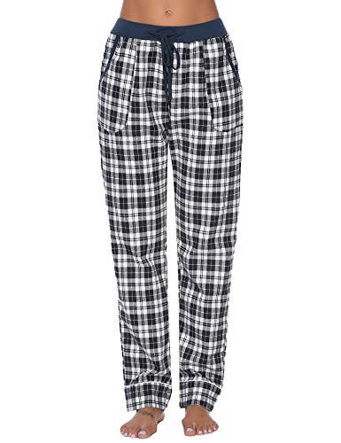iClosam Pantalones de Pijama Mujer 100% Algodón Patalones Cuadros Largos Suave y Comodo S-XXL