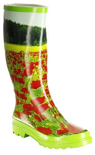ConWay Gummistiefel grün Regenstiefel Damen Stiefel Schuhe Mohnblume, Größe:39 EU, Farbe:grün