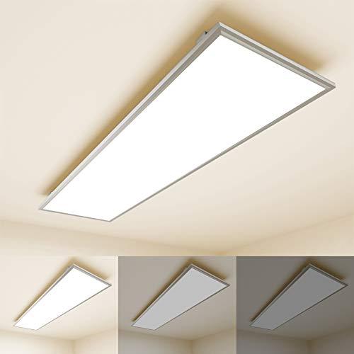 OUBO Deckenlampe Deckenleuchte LED Panel dimmbar 120x30cm Warmweiß / 36W/ 3700lm / 3000K / Weißrahmen Flurlampe Decke Wandleuchte Schlafzimmer Kinderzimmer, inkl. Trafo und Anbauwinkel