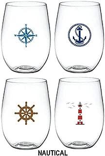 4-pack Designer Shatterproof BPA Free Plastic 16 ounce Stemless Wine Glass (NAUTICAL)