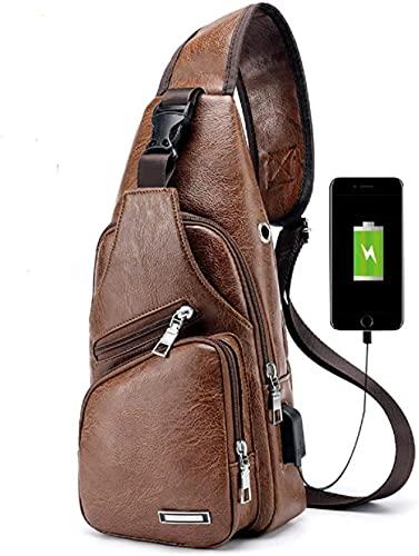 LEOCEE Bolso bandolera de cuero para hombre Bolso bandolera en el pecho con puerto de carga USB (Negro) -Light_Brown
