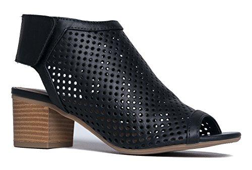 J. Adams Maddie Cutout Bootie - Adjustable Band Slip On Low Stacked Heel Shoes, Black Pu, 7