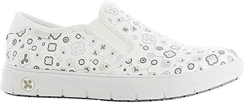 Oxypas Oxypas Neu Fashion Berufsschuh komfortabeler Sneaker Nadine aus Leder antistatisch (ESD) in vielen Farben (38, weiß-geblümt (MUG))