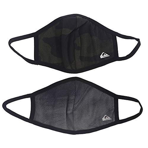 Quiksilver Reversible Face Masks 2 Pack, Black/Camo, One Size