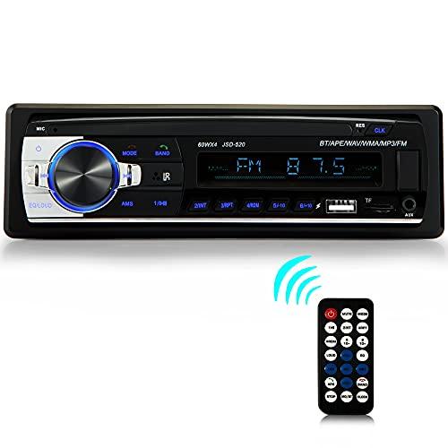 iFreGo Autoradio mit Bluetooth Freisprecheinrichtung, Autoradio Bluetooth mit 2 USB Anschluss/AUX/TF/MP3 Player/FM Radio mit drahtloser Fernbedienung 1 DIN RDS Schnellladefunktion 60WX4