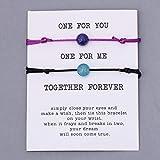 LLXXYY Pulsera De Piedra,Cordón De Piedra Natural Pulsera 2Pcs/Set Par Trenzado Azul Púrpura Bangle Hombres Mujeres Desean Oración Regalo Pareja De Joyas