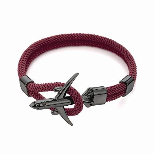 Pulsera de ancla de avión para mujer, pulsera de trenza multicapa para hombres, joyería de moda (color metálico: rojo vino y negro)