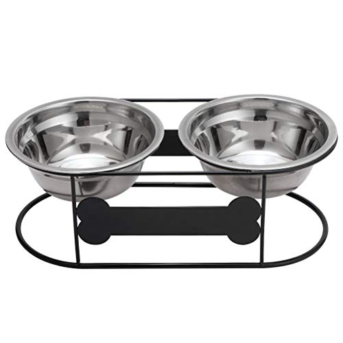 BINGPET Elevated Dog Feeder, Raised Dog Bowl with Stand, Double Stainless Steel Dog Food and Water Bowls with Bone Style and Arc Wire Stand, for Dog and Cat