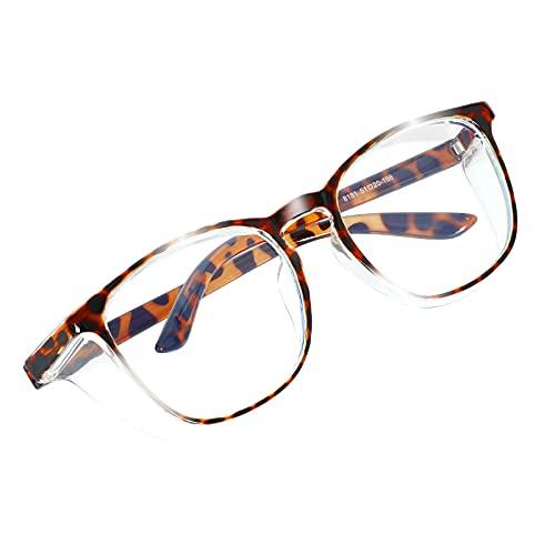 Hainice Bicchieri di Sicurezza su Occhiali antibanco Anti Nebbia Anti Nebbia Anti Blue Light Eyewear Eyewear per Donna e Uomini per la Chimica da Laboratorio Uso Personale o Professionale Leopard