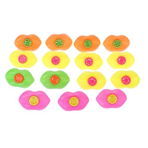M-HUA 15 Piezas Boca Silbato Labio plástico Juguete niños decoración del hogar niños Fiesta Prop cumpleaños Festival Regalo Juguete Educativo