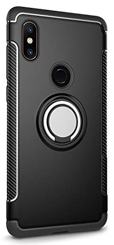 Capa Case Magnetica Imã Anti Impacto para Mi Mix 2S (Tela 5.99), com Stand e Suporte Anel e Rotação, Carbon Fiber, TPU + PC Ultra Slim, Xiaomi Mi Mix 2S (Tela 5.99) - Preto