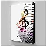 cuadros decoracion salon Piano Música Dibujos animados Decoración linda para el hogar Lienzo Amor Póster Cuadros modulares Arte de la pared de la sala de estar moderna 15.7x23.6in (40x60cm) x1pcs Sin