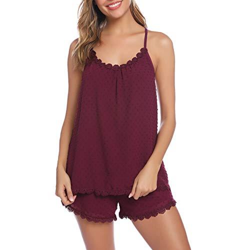 iClosam Pijamas Mujer Tirantes Verano Corto Set,Camiseta de Tirantes y Short Ropa de Dormir Sexy y Comodo (Rojo Oscuro, XL)