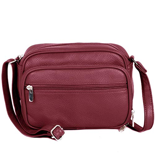 Cowhide Leather Women's Shoulder Purse Small Cross Body Organizer Bag with Many Pockets (Brown-Accrdn)