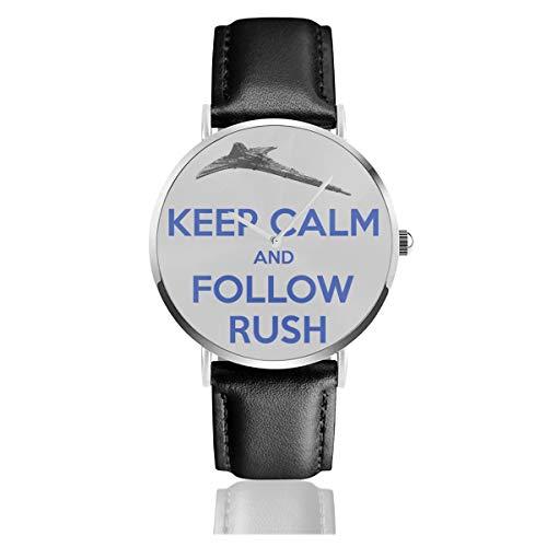 Unisex Business Casual Stargate Universe Keep Calm and Follow Rush Destiny Heather Grey Uhren Quarz Leder Armbanduhr mit schwarzem Lederband für Männer Frauen Junge Kollektion Geschenk
