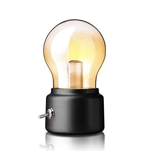 Retro Tischleuchte, LightsGoal Vintage Lampe, aufladbar Batterie USB Birnen, Romantische Nachtlicht für Schlafzimmer, Wohnzimmer, Arbeitszimmer