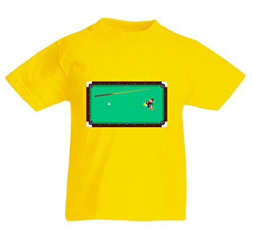 Camiseta de manga corta, diseño de billar con texto en alemán 'BILLARDTISCH- TASCHENBILLARD- Billard- STÖCKE- BÄLLE- BILLARDKUGEL- NACH Oben- GRÜN- Taschen- RECHTECKIG- DREIECK- GEPEINIGT' para caballeros, damas, niños - 104-5XL amarillo 116 cm