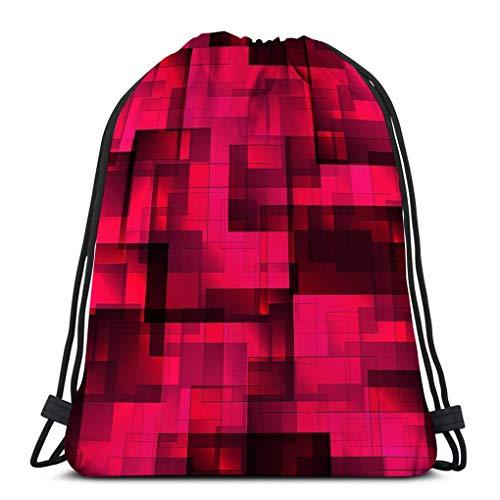 Lsjuee Männer und Frauen Kordelzug Rucksack Tasche Wandern Leichtgewicht Muster rosa Fliesen Quadrate Schatten Volumen Urlaub Papier Stoff Einfach