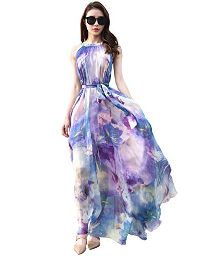 MedeShe Women's Chiffon Floral Holiday Beach Bridesmaid Maxi Dress Sundress (X-Large, Lavender Lotus)