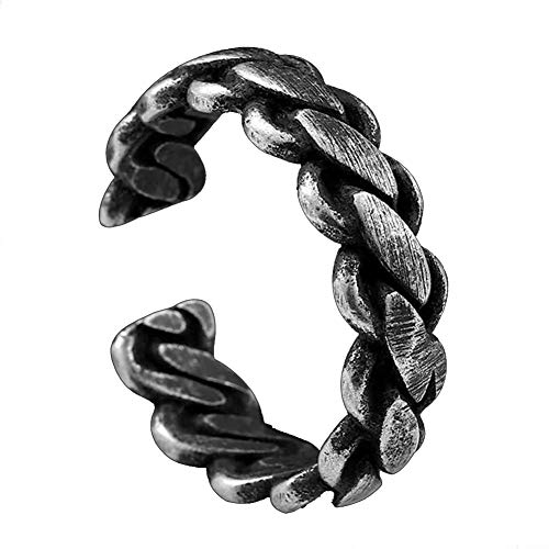 YABEME Men Stainless Steel Ring, Vintage Cool Gothic Punk Rock Band Handmade Braided Knot Biker Finger Jewelry, Anniversary Wedding Cocktail Party Gift,8