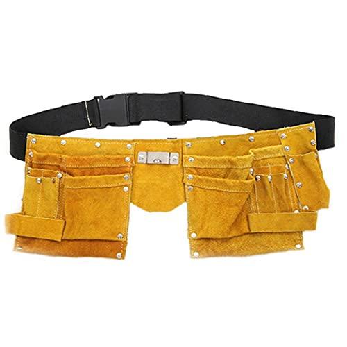 LAANCOO Cinturón de Herramientas Bolsa de Cuero Bolsa de Bolsillo del Delantal Ajustable para Trabajo Pesado para el Bricolaje Electricista Carpintero Joiner Hombres Mujeres Durable