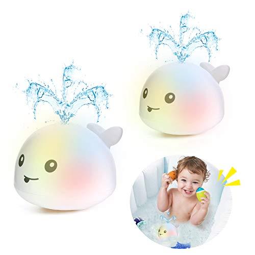 Addmos Badewannenspielzeug, Baby Spielzeug für 1 2 3 4 5 Jahre alte Jungen Mädchen, 2 x Wasser Baby Wal Badespielzeug mit Licht für Kinder ab 1 Jahr 2jahre und älter (EIN Paar)