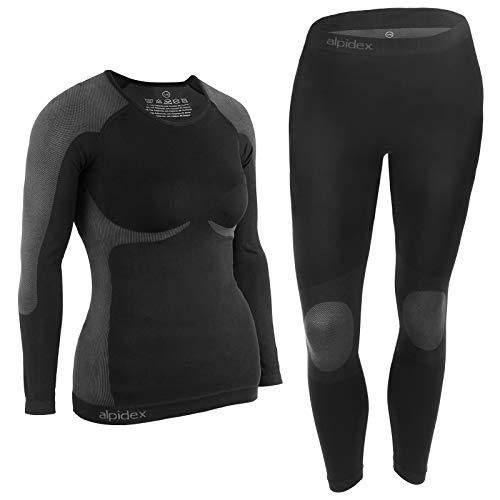 ALPIDEX Ropa Interior para esquí, térmica y Funcional para Mujer - Transpirable, cálida y de Secado rápido, Tamaño:S/M, Color:Black-Grey